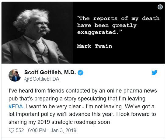 FDA chief Scott Gottlieb is stepping down